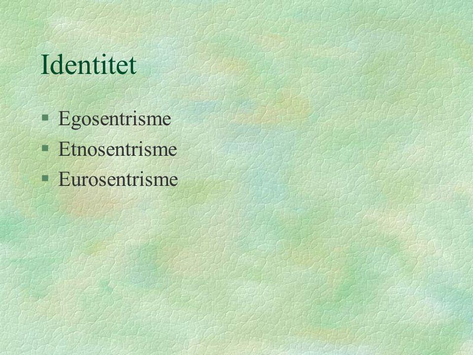 Identitet §Egosentrisme §Etnosentrisme §Eurosentrisme