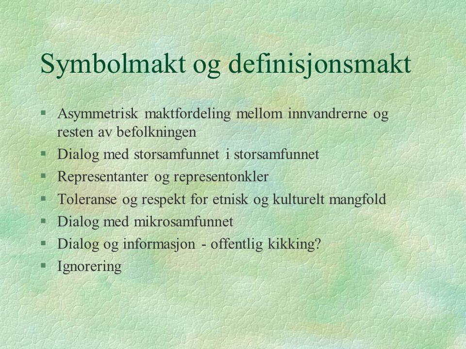 Symbolmakt og definisjonsmakt §Asymmetrisk maktfordeling mellom innvandrerne og resten av befolkningen §Dialog med storsamfunnet i storsamfunnet §Repr