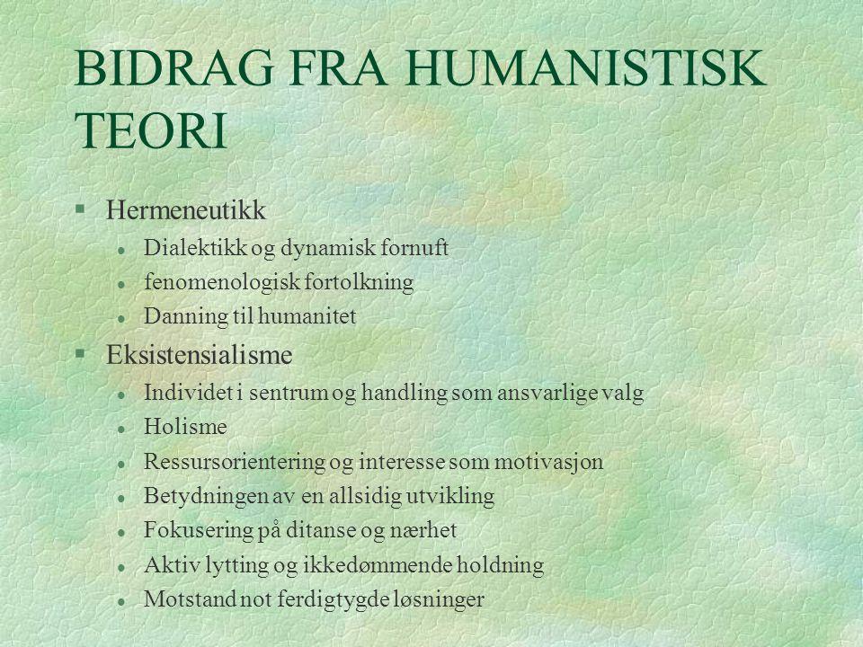 BIDRAG FRA HUMANISTISK TEORI §Hermeneutikk l Dialektikk og dynamisk fornuft l fenomenologisk fortolkning l Danning til humanitet §Eksistensialisme l I
