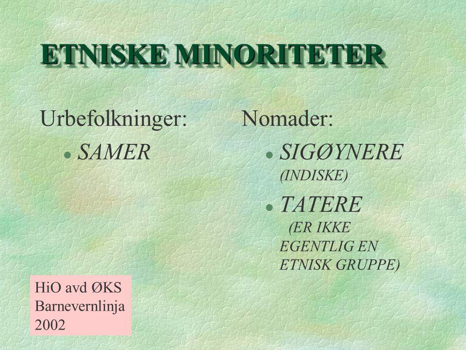 ETNISKE MINORITETER Urbefolkninger: l SAMER Nomader: l SIGØYNERE (INDISKE) l TATERE (ER IKKE EGENTLIG EN ETNISK GRUPPE) HiO avd ØKS Barnevernlinja 200