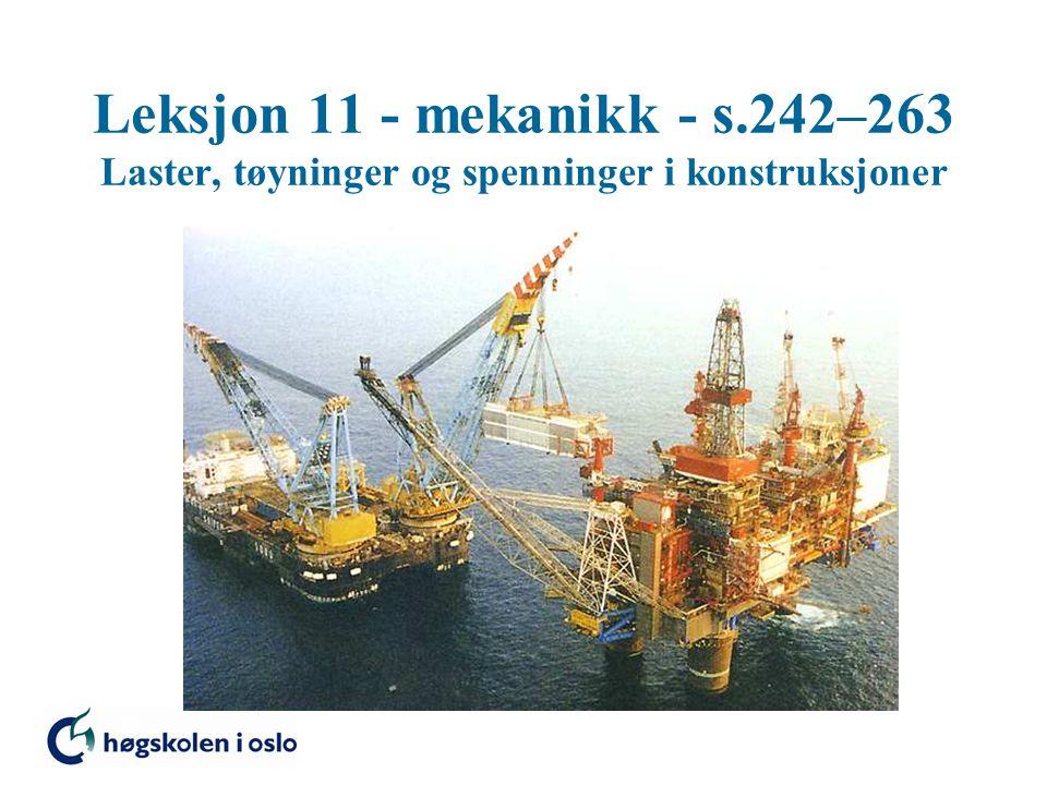 Laster på konstruksjoner Jevnt fordelt last y x q -  kN/m 