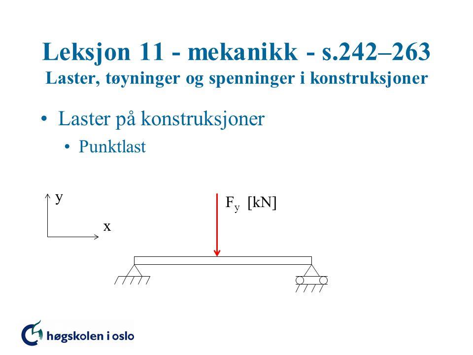Leksjon 11 - mekanikk - s.242–263 Laster, tøyninger og spenninger i konstruksjoner Elastisitet E – materialets elastisitetsmodul (E-modul) Stål: E = 210000 N/mm 2 Aluminium: E = 70000 N/mm 2 Tre: E = 5000  15000 N/mm 2