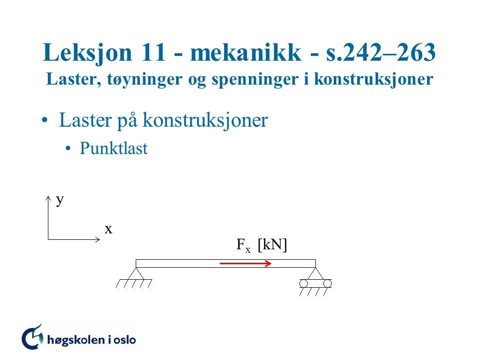 Leksjon 11 - mekanikk - s.242–263 Laster, tøyninger og spenninger i konstruksjoner Laster på konstruksjoner Jevnt fordelt last Punktlast y x q -  kN/m  F y  kN  F x  kN 