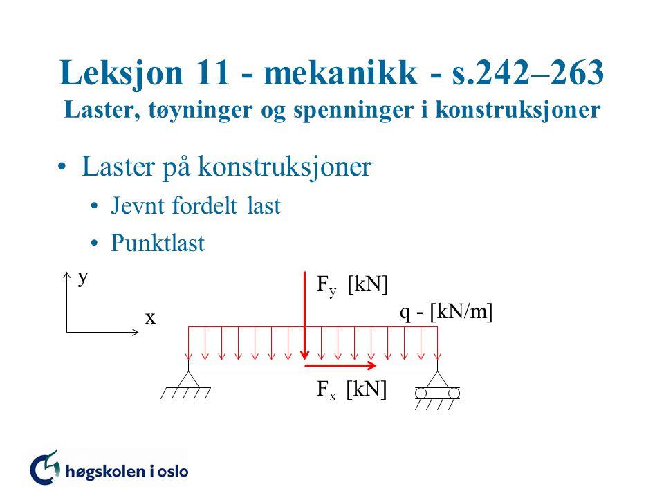 Leksjon 11 - mekanikk - s.242–263 Laster, tøyninger og spenninger i konstruksjoner Laster på konstruksjoner Jevnt fordelt last Punktlast y x q -  kN/