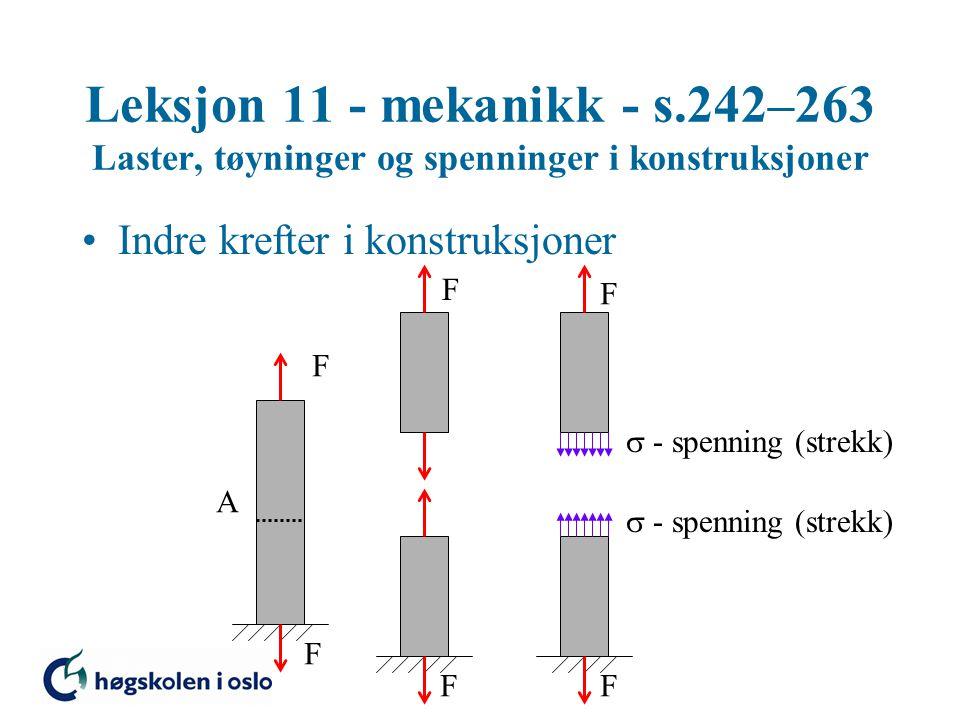 Leksjon 11 - mekanikk - s.242–263 Laster, tøyninger og spenninger i konstruksjoner Konstruksjonsmaterialers kapasitet Strekkforsøk F F Måler kraften F (spenningen  = F/A) og forlengelsen  l (relativ forlengelse  =  l/l)