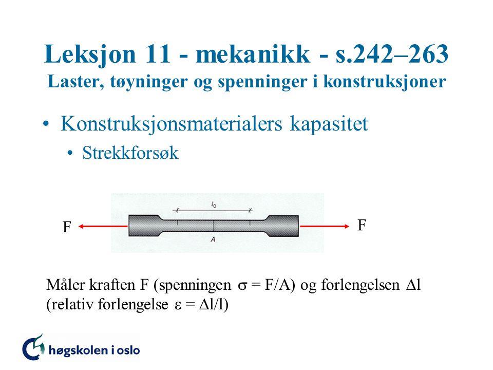 Leksjon 11 - mekanikk - s.242–263 Laster, tøyninger og spenninger i konstruksjoner Konstruksjonsmaterialers kapasitet Strekkforsøk F F Måler kraften F