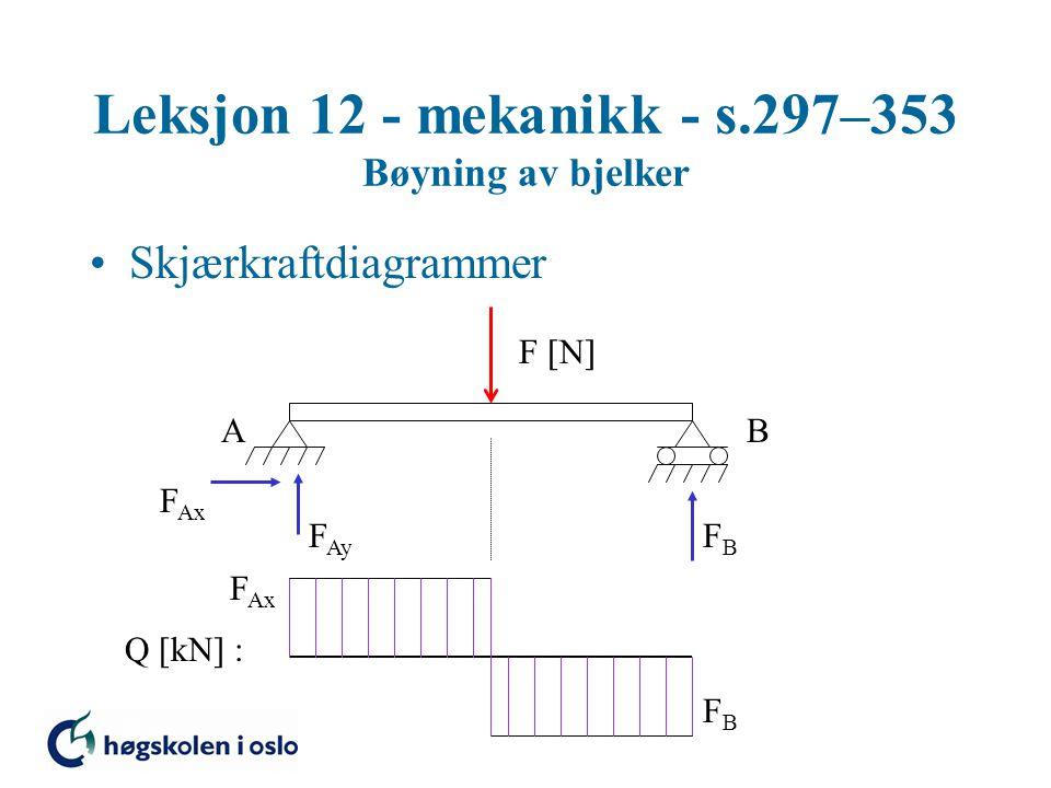 Leksjon 12 - mekanikk - s.297–353 Bøyning av bjelker Skjærkraftdiagrammer F  N  AB F Ax F Ay FBFB Q [kN] : F Ax FBFB