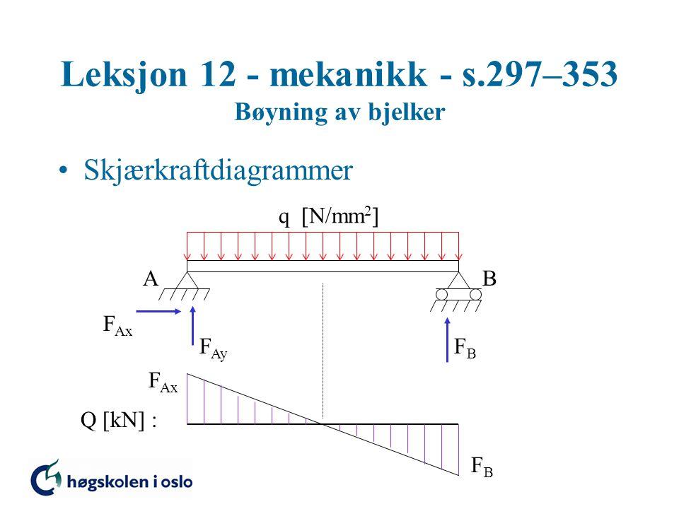 Leksjon 12 - mekanikk - s.297–353 Bøyning av bjelker Skjærkraftdiagrammer AB F Ax F Ay FBFB Q [kN] : F Ax FBFB q  N/mm 2 