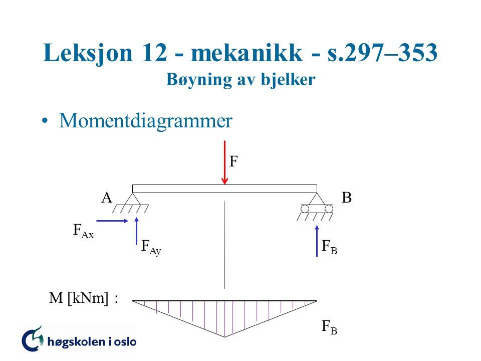 Leksjon 12 - mekanikk - s.297–353 Bøyning av bjelker Momentdiagrammer F AB F Ax F Ay FBFB M [kNm] : FBFB