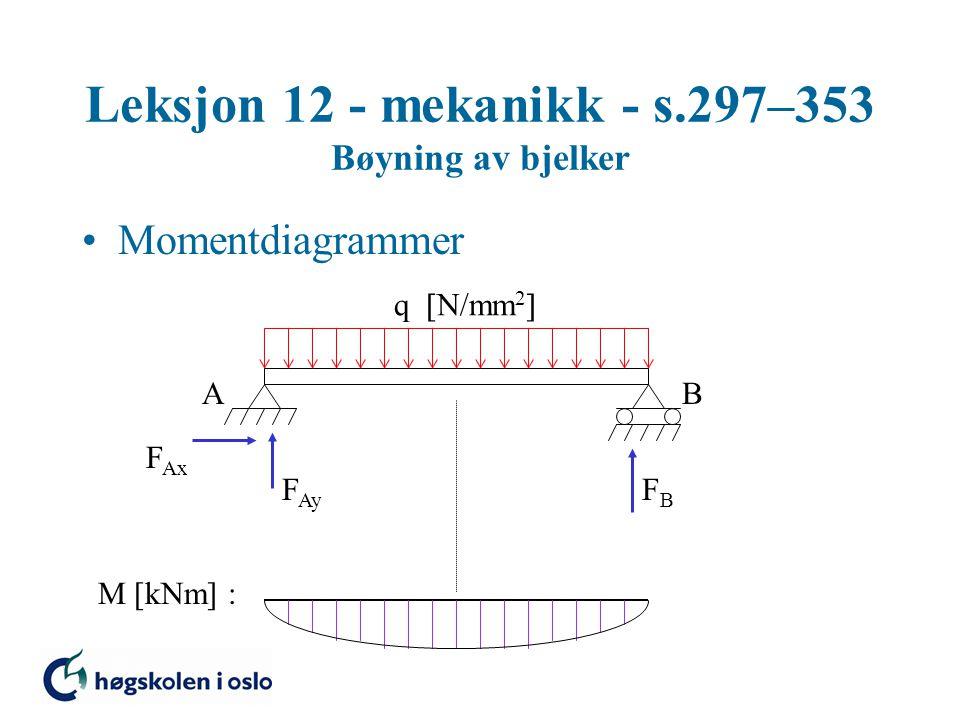 Leksjon 12 - mekanikk - s.297–353 Bøyning av bjelker Momentdiagrammer AB F Ax F Ay FBFB M [kNm] : q  N/mm 2 