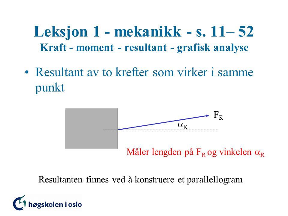 Leksjon 1 - mekanikk - s. 11– 52 Kraft - moment - resultant - grafisk analyse Resultant av to krefter som virker i samme punkt FRFR Resultanten finnes