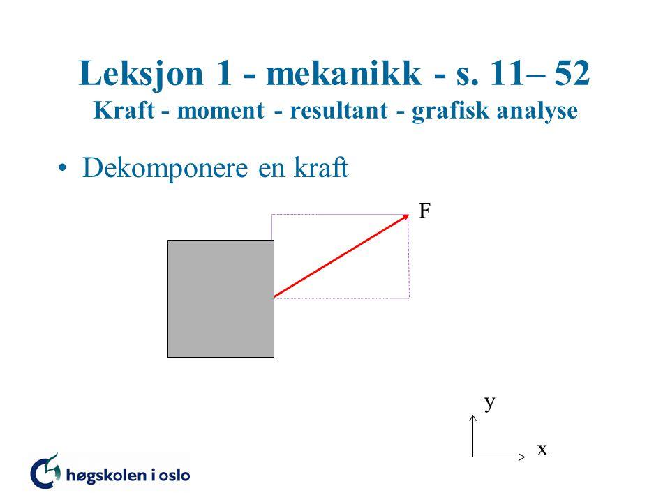 Leksjon 1 - mekanikk - s. 11– 52 Kraft - moment - resultant - grafisk analyse Dekomponere en kraft x y F