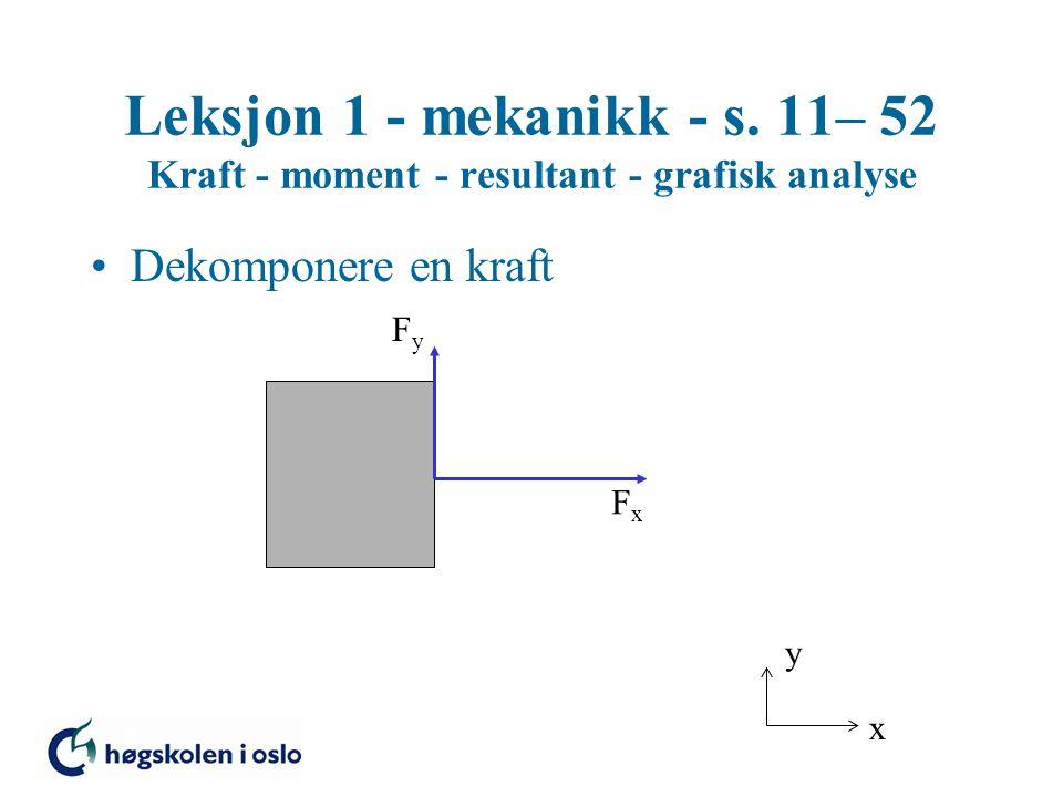 Leksjon 1 - mekanikk - s. 11– 52 Kraft - moment - resultant - grafisk analyse Dekomponere en kraft x y FyFy FxFx