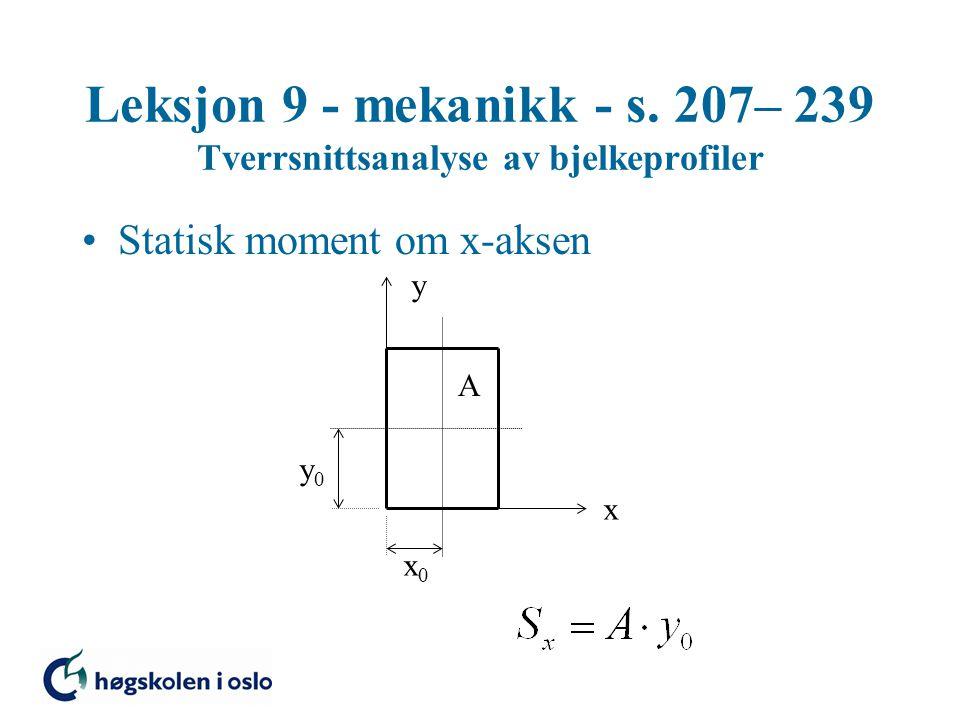 Leksjon 9 - mekanikk - s. 207– 239 Tverrsnittsanalyse av bjelkeprofiler Statisk moment om x-aksen x y x0x0 y0y0 A