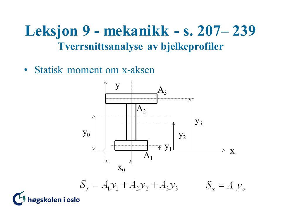 Leksjon 9 - mekanikk - s. 207– 239 Tverrsnittsanalyse av bjelkeprofiler Statisk moment om x-aksen x y x0x0 y0y0 y1y1 y2y2 y3y3 A3A3 A2A2 A1A1