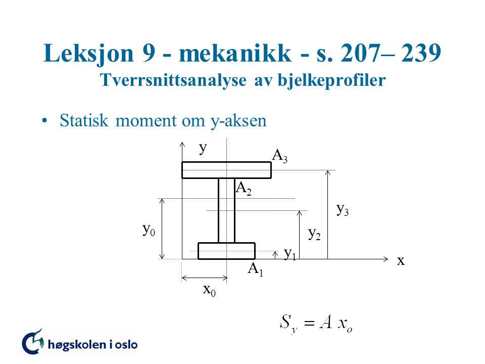 Leksjon 9 - mekanikk - s. 207– 239 Tverrsnittsanalyse av bjelkeprofiler Statisk moment om y-aksen x y x0x0 y0y0 y1y1 y2y2 y3y3 A3A3 A2A2 A1A1