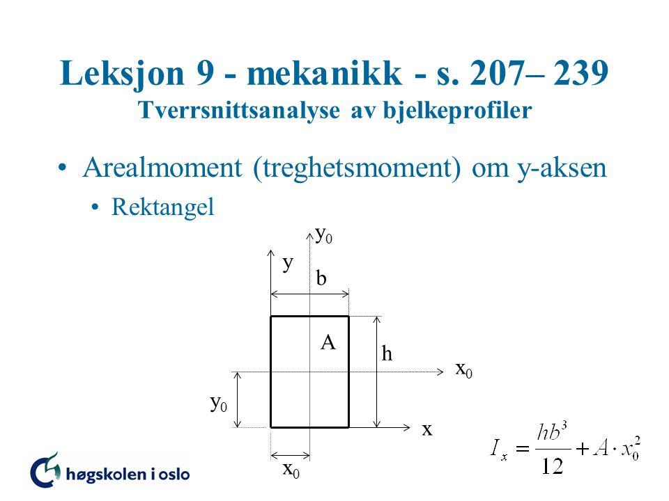 Leksjon 9 - mekanikk - s. 207– 239 Tverrsnittsanalyse av bjelkeprofiler Arealmoment (treghetsmoment) om y-aksen Rektangel x y x0x0 y0y0 x0x0 y0y0 A b