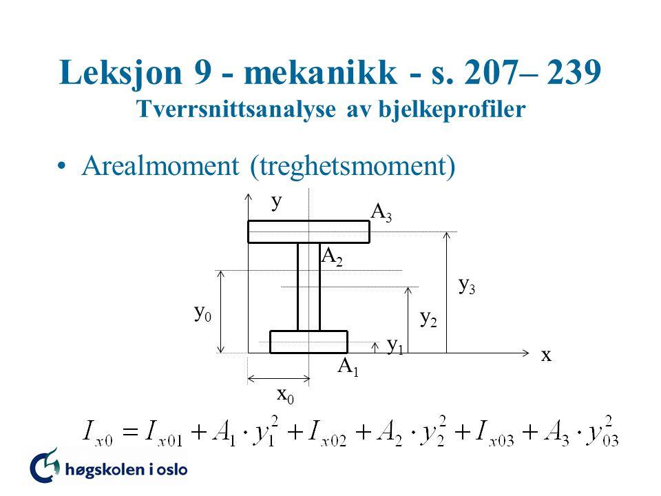Leksjon 9 - mekanikk - s. 207– 239 Tverrsnittsanalyse av bjelkeprofiler Arealmoment (treghetsmoment) x y x0x0 y0y0 y1y1 y2y2 y3y3 A3A3 A2A2 A1A1