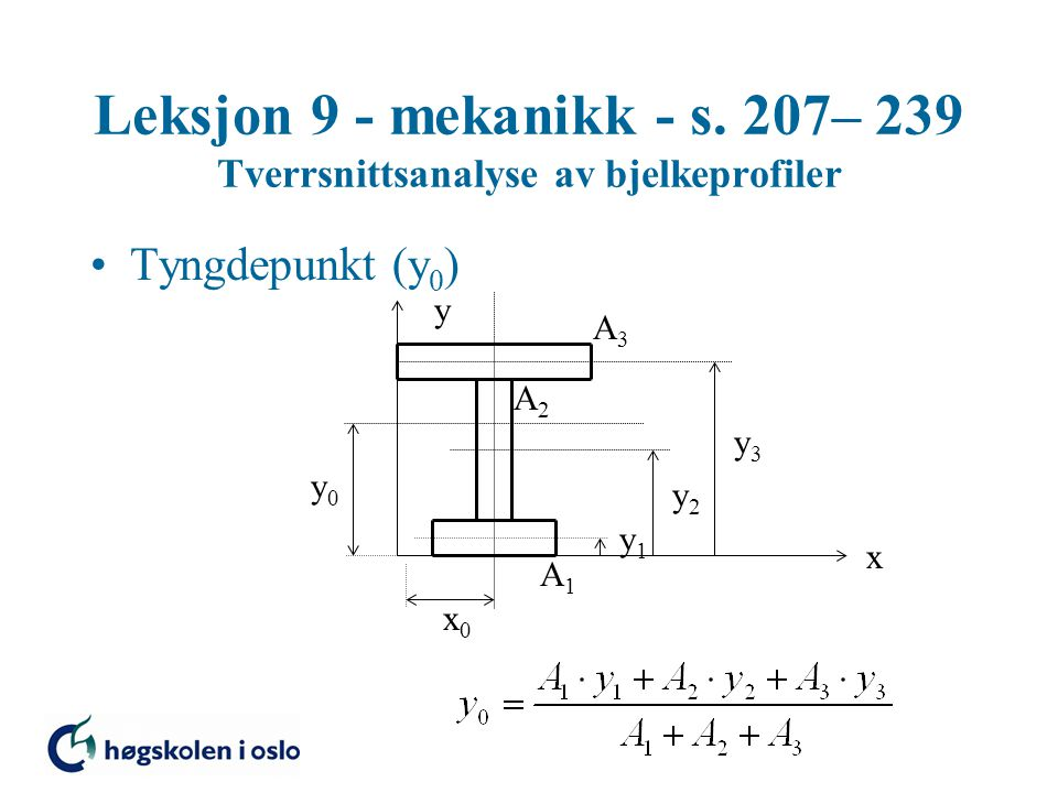 Leksjon 9 - mekanikk - s. 207– 239 Tverrsnittsanalyse av bjelkeprofiler Tyngdepunkt (y 0 ) x y x0x0 y0y0 y1y1 y2y2 y3y3 A3A3 A2A2 A1A1