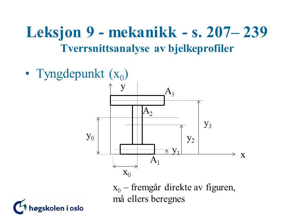 Leksjon 9 - mekanikk - s. 207– 239 Tverrsnittsanalyse av bjelkeprofiler Tyngdepunkt (x 0 ) x y x0x0 y0y0 y1y1 y2y2 y3y3 A3A3 A2A2 A1A1 x 0 – fremgår d