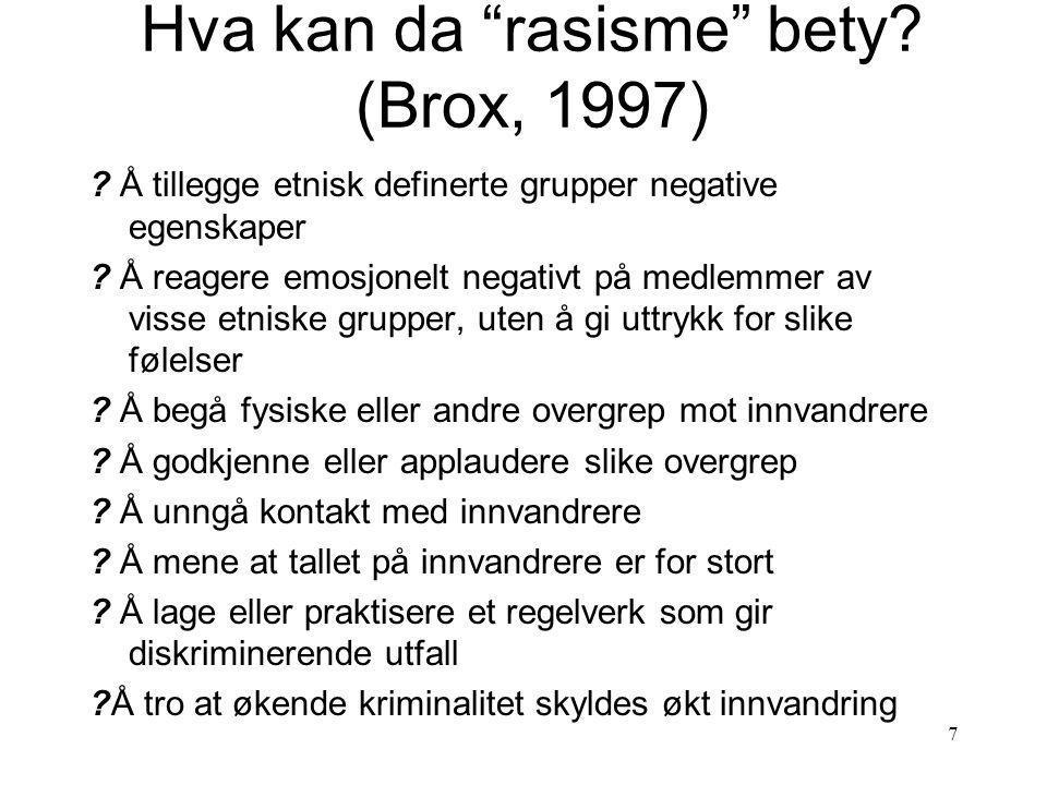 7 Hva kan da rasisme bety.(Brox, 1997) .