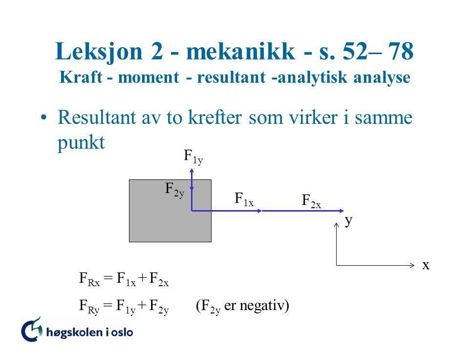 Leksjon 2 - mekanikk - s.