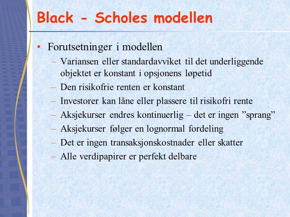 Black - Scholes modellen Forutsetninger i modellen –Variansen eller standardavviket til det underliggende objektet er konstant i opsjonens løpetid –De