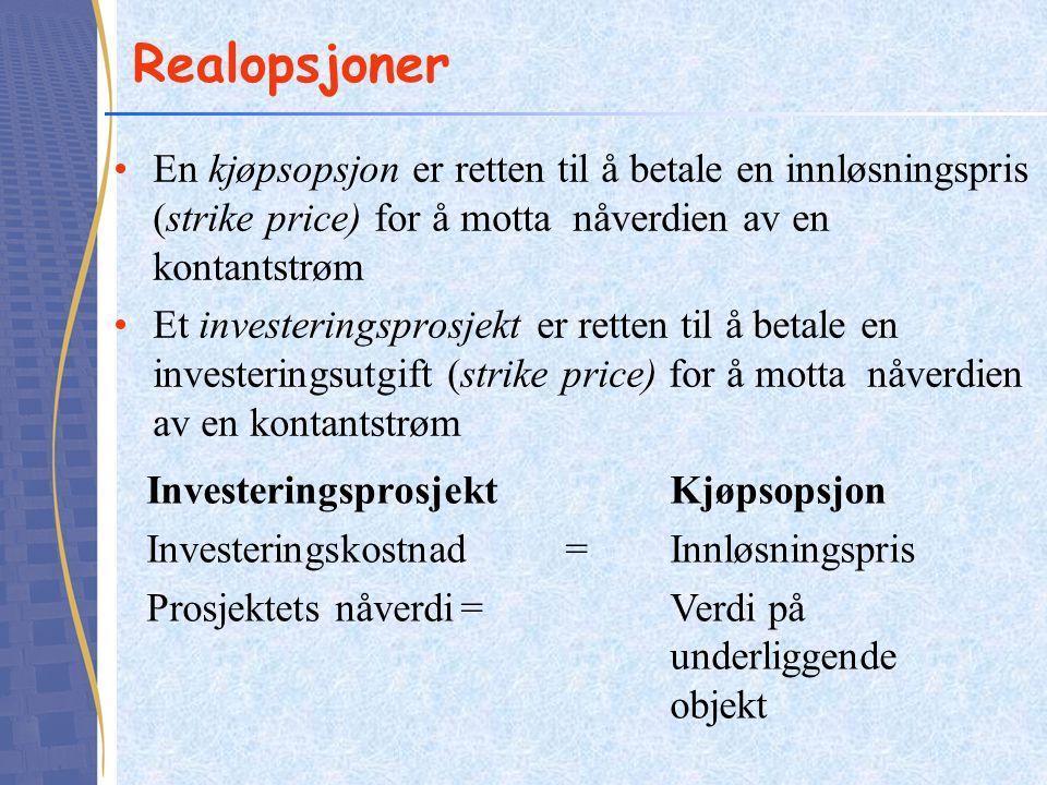 Realopsjoner En kjøpsopsjon er retten til å betale en innløsningspris (strike price) for å motta nåverdien av en kontantstrøm Et investeringsprosjekt
