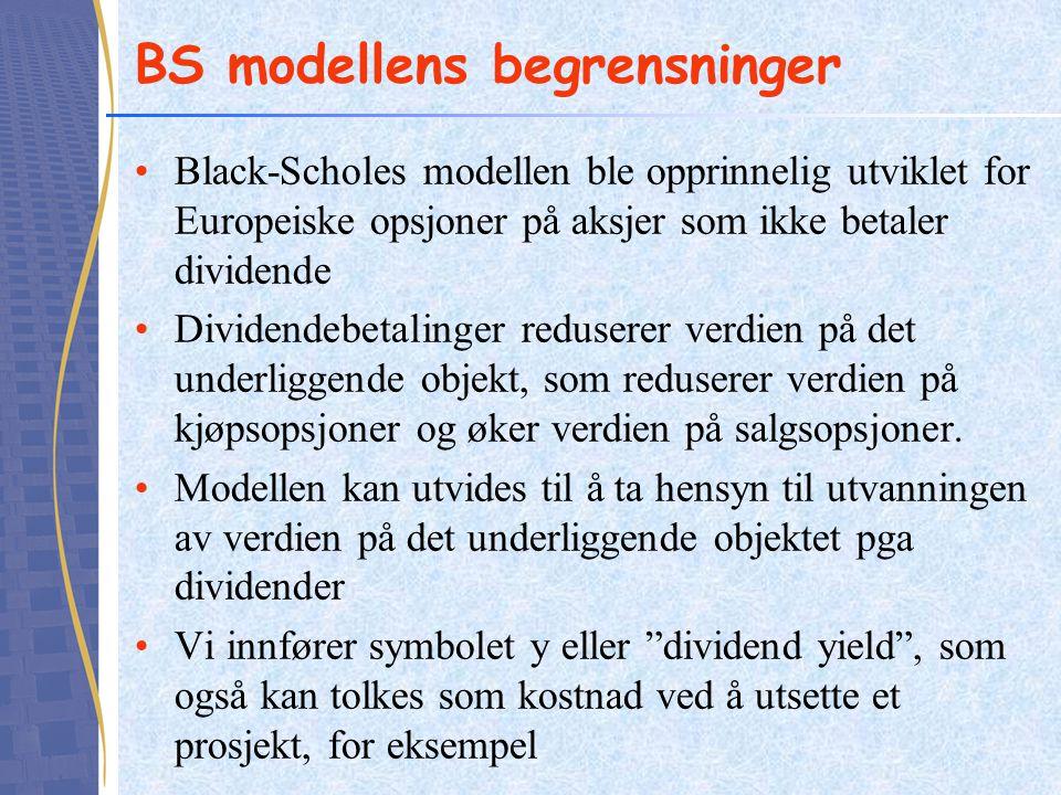 BS modellens begrensninger Black-Scholes modellen ble opprinnelig utviklet for Europeiske opsjoner på aksjer som ikke betaler dividende Dividendebetal