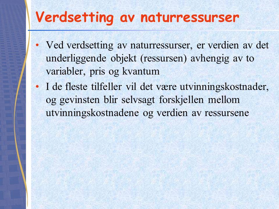 Verdsetting av naturressurser Ved verdsetting av naturressurser, er verdien av det underliggende objekt (ressursen) avhengig av to variabler, pris og