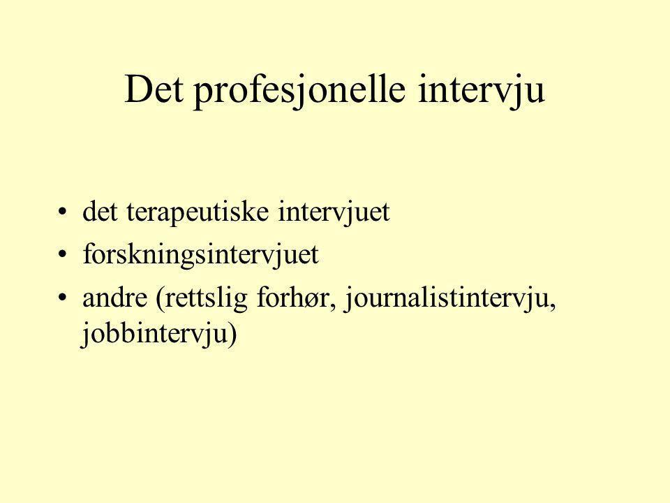 Det profesjonelle intervju det terapeutiske intervjuet forskningsintervjuet andre (rettslig forhør, journalistintervju, jobbintervju)