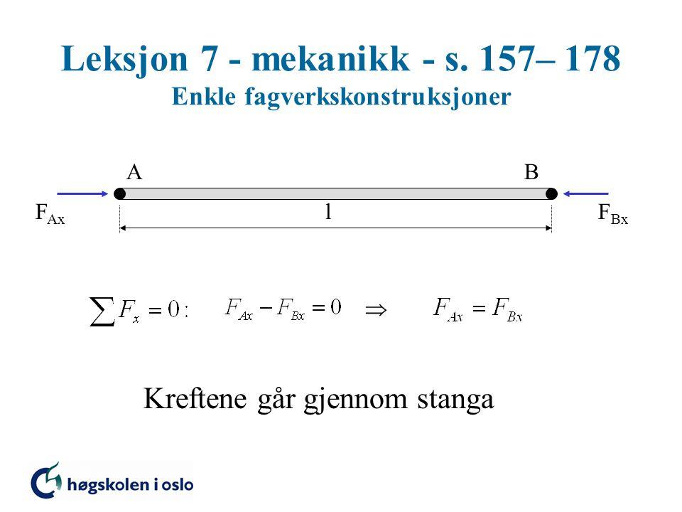 Leksjon 7 - mekanikk - s. 157– 178 Enkle fagverkskonstruksjoner AB F Ax F Bx l  Kreftene går gjennom stanga