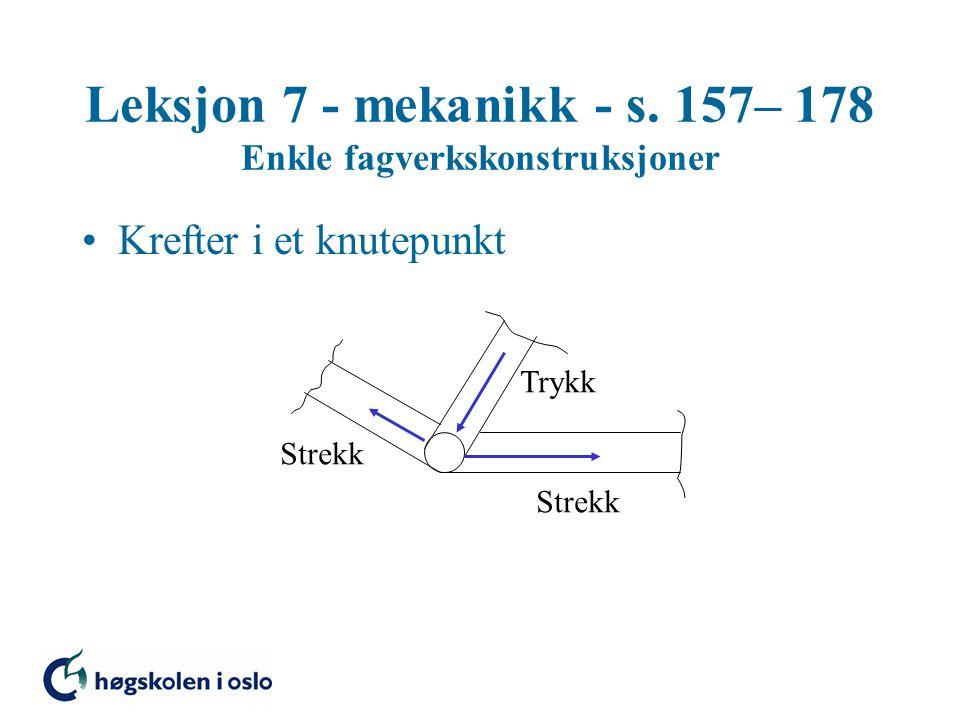 Leksjon 7 - mekanikk - s. 157– 178 Enkle fagverkskonstruksjoner Krefter i et knutepunkt Strekk Trykk
