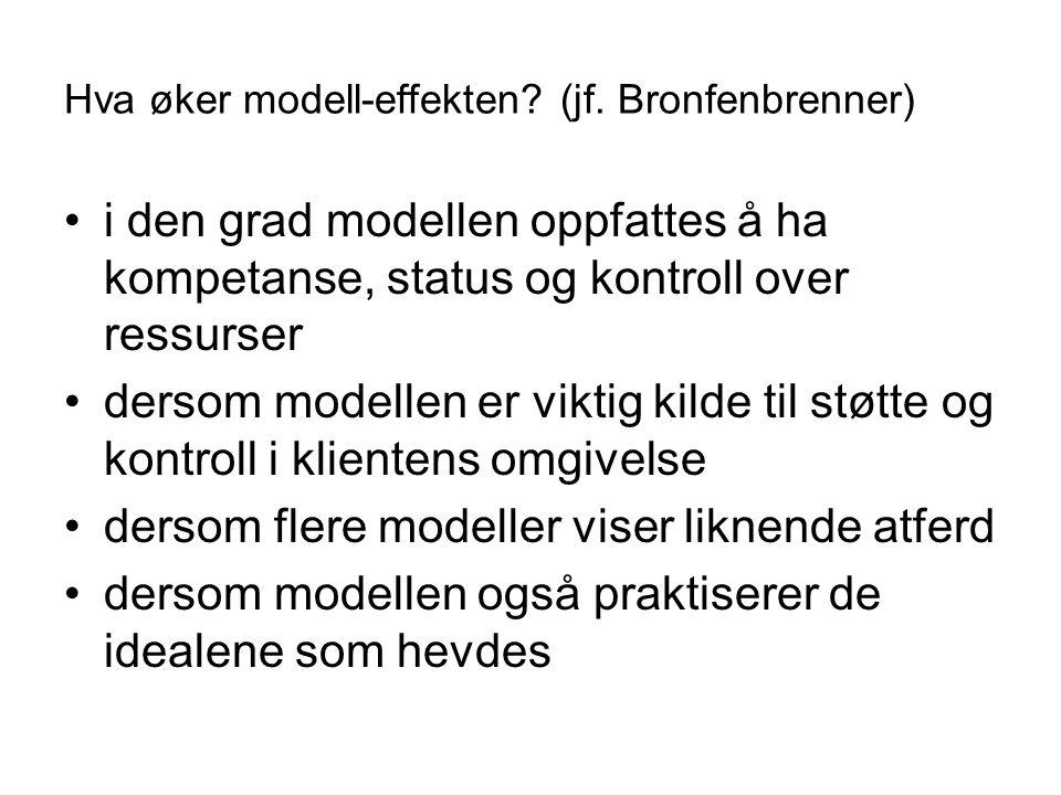 Hva øker modell-effekten? (jf. Bronfenbrenner) i den grad modellen oppfattes å ha kompetanse, status og kontroll over ressurser dersom modellen er vik