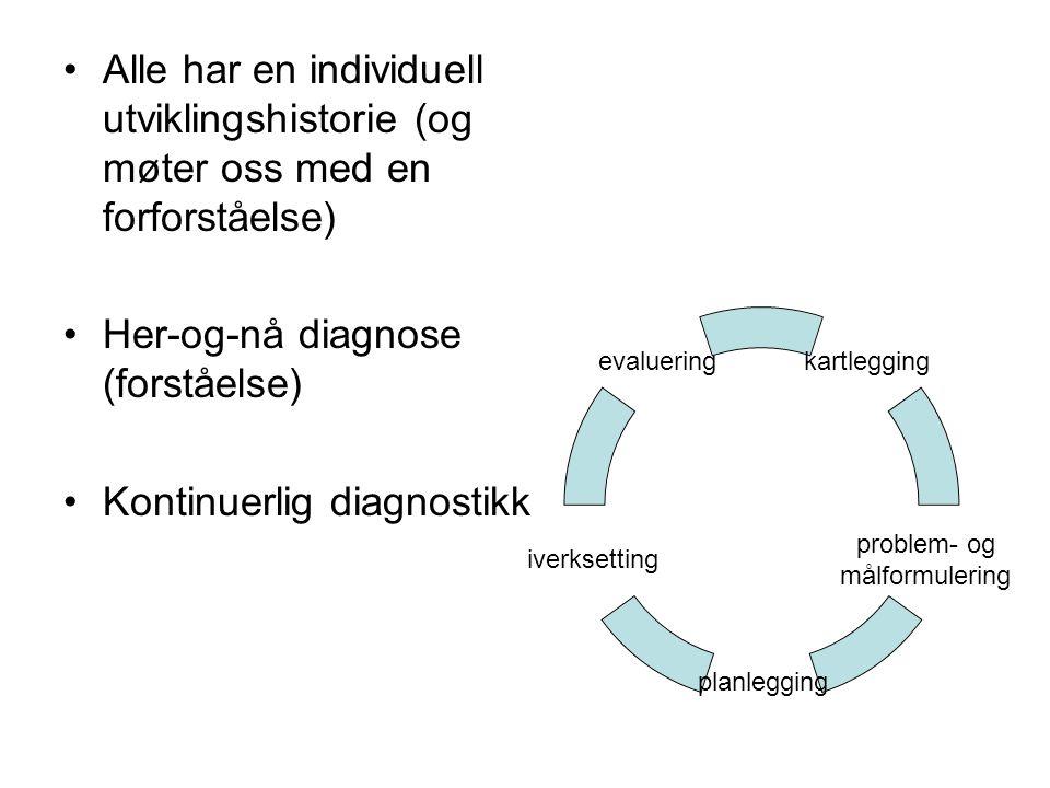 Alle har en individuell utviklingshistorie (og møter oss med en forforståelse) Her-og-nå diagnose (forståelse) Kontinuerlig diagnostikk kartlegging pr