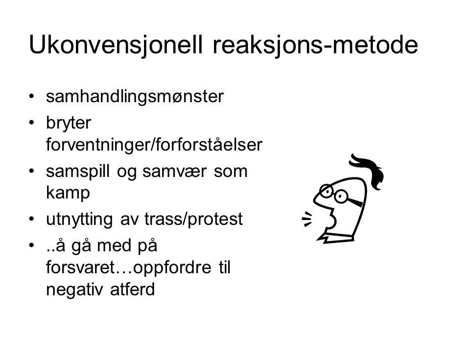 Ukonvensjonell reaksjons-metode samhandlingsmønster bryter forventninger/forforståelser samspill og samvær som kamp utnytting av trass/protest..å gå m