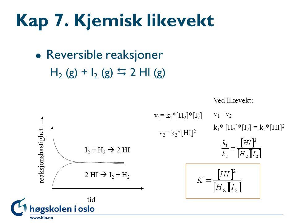 Massevirkningsloven l For den generelle reversible reaksjonen: a A + b B  c C+ d D (Guldberg-Waages lov) Er likevektskonstanten lik: