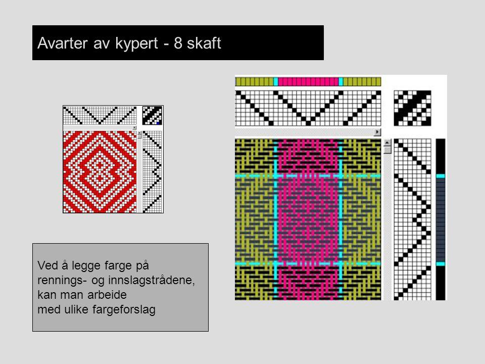 Avarter av kypert - 8 skaft Ved å legge farge på rennings- og innslagstrådene, kan man arbeide med ulike fargeforslag
