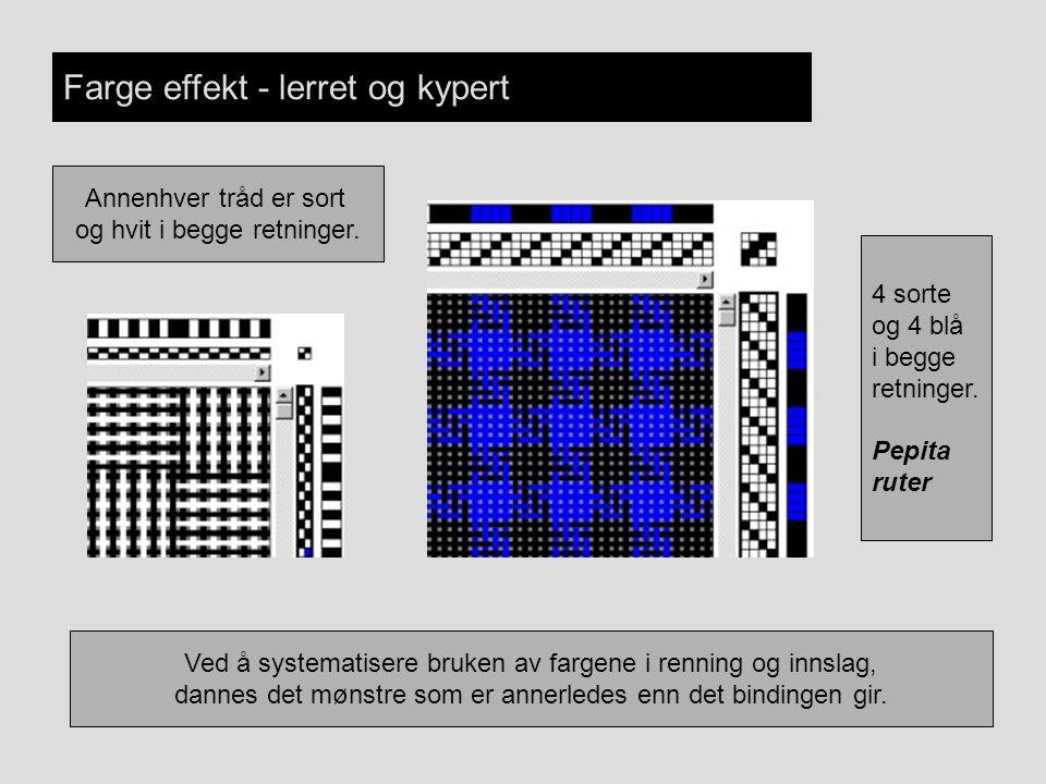 Farge effekt - lerret og kypert Ved å systematisere bruken av fargene i renning og innslag, dannes det mønstre som er annerledes enn det bindingen gir