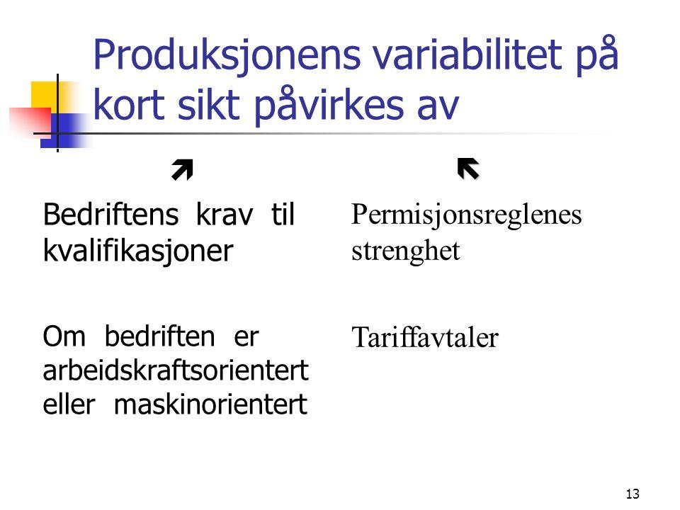 13 Produksjonens variabilitet på kort sikt påvirkes av  Bedriftens krav til kvalifikasjoner Om bedriften er arbeidskraftsorientert eller maskinorient