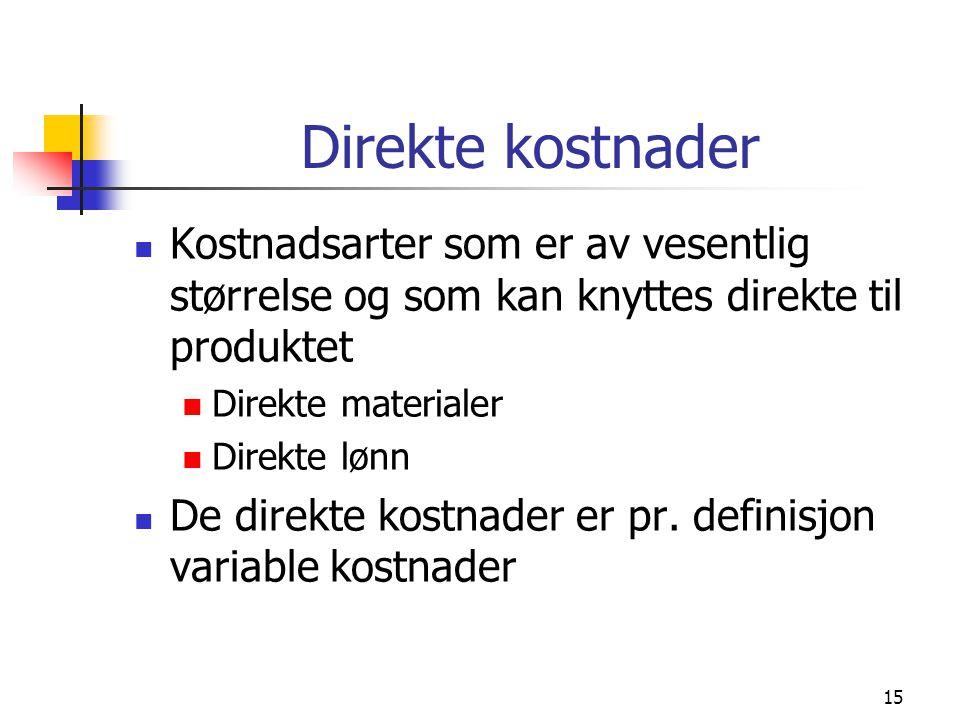 15 Direkte kostnader Kostnadsarter som er av vesentlig størrelse og som kan knyttes direkte til produktet Direkte materialer Direkte lønn De direkte k