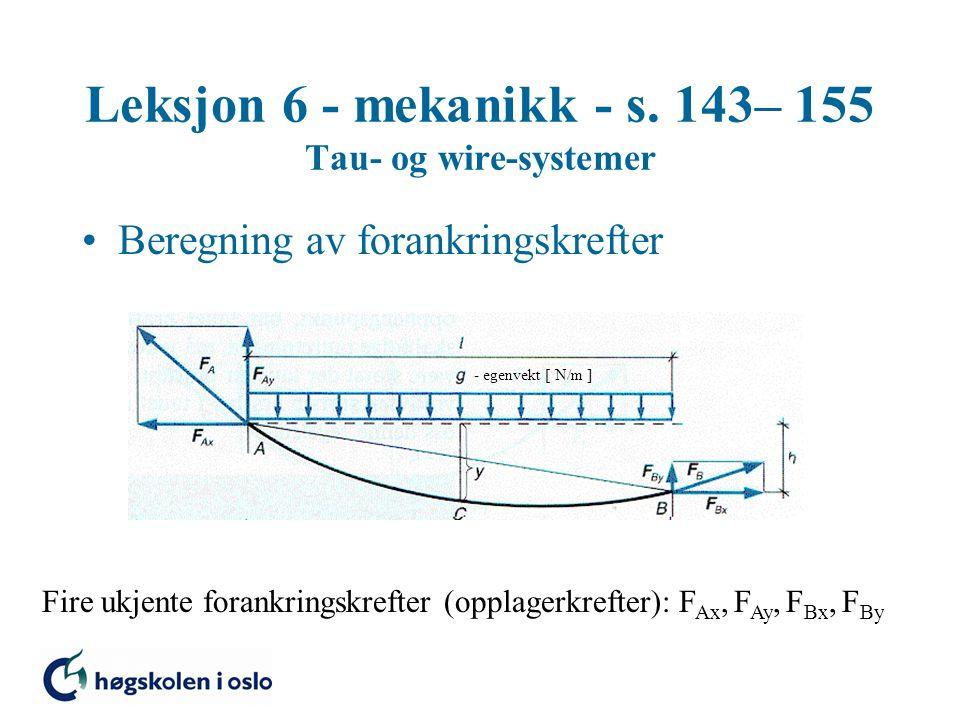 Leksjon 6 - mekanikk - s. 143– 155 Tau- og wire-systemer Beregning av forankringskrefter - egenvekt [ N/m ] Fire ukjente forankringskrefter (opplagerk