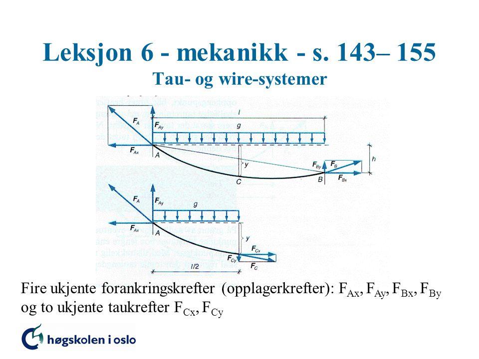 Leksjon 6 - mekanikk - s. 143– 155 Tau- og wire-systemer Fire ukjente forankringskrefter (opplagerkrefter): F Ax, F Ay, F Bx, F By og to ukjente taukr