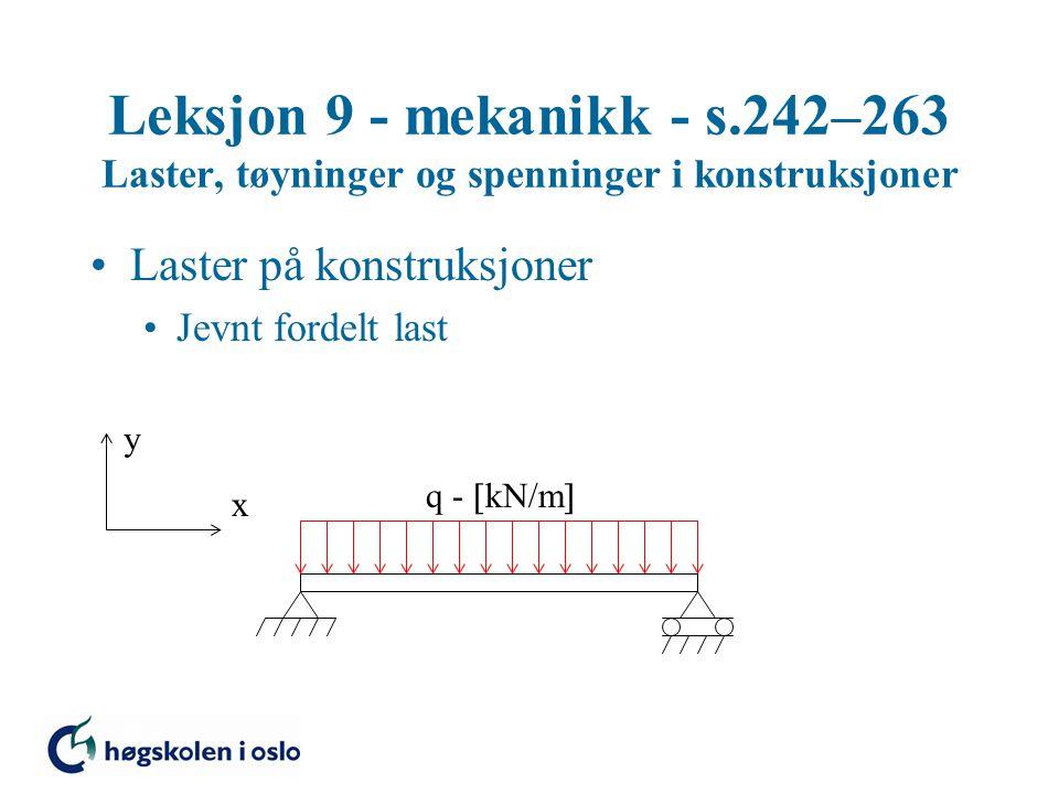 Leksjon 9 - mekanikk - s.242–263 Laster, tøyninger og spenninger i konstruksjoner Laster på konstruksjoner Jevnt fordelt last y x q -  kN/m 
