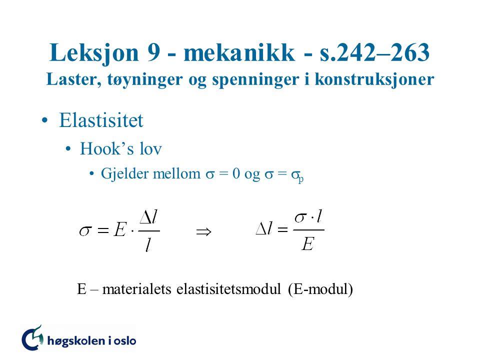 Leksjon 9 - mekanikk - s.242–263 Laster, tøyninger og spenninger i konstruksjoner Elastisitet Hook's lov Gjelder mellom  = 0 og  =  p  E – materia