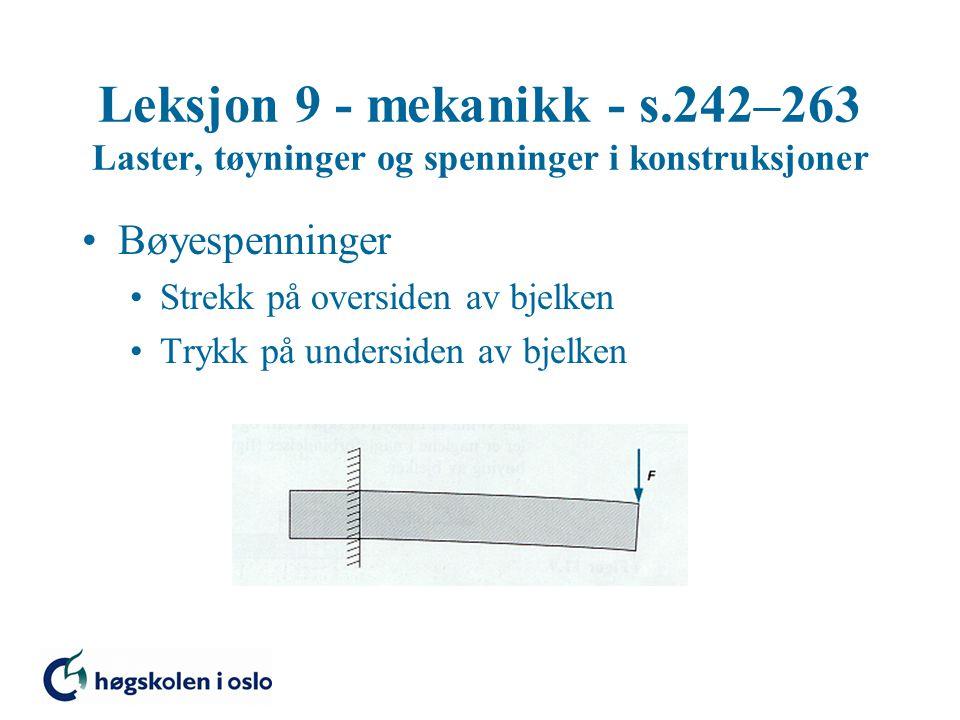 Leksjon 9 - mekanikk - s.242–263 Laster, tøyninger og spenninger i konstruksjoner Bøyespenninger Strekk på oversiden av bjelken Trykk på undersiden av