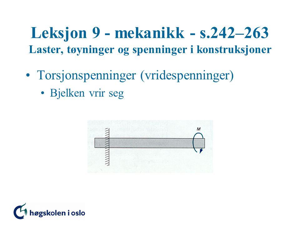 Leksjon 9 - mekanikk - s.242–263 Laster, tøyninger og spenninger i konstruksjoner Torsjonspenninger (vridespenninger) Bjelken vrir seg