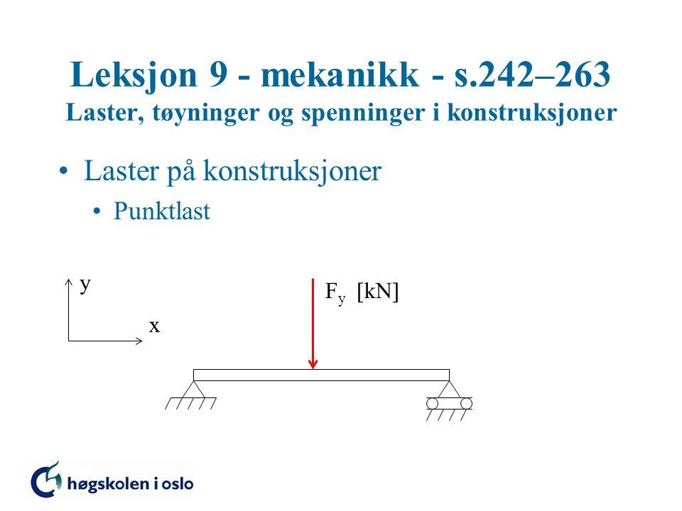 Leksjon 9 - mekanikk - s.242–263 Laster, tøyninger og spenninger i konstruksjoner Laster på konstruksjoner Punktlast y x F y  kN 