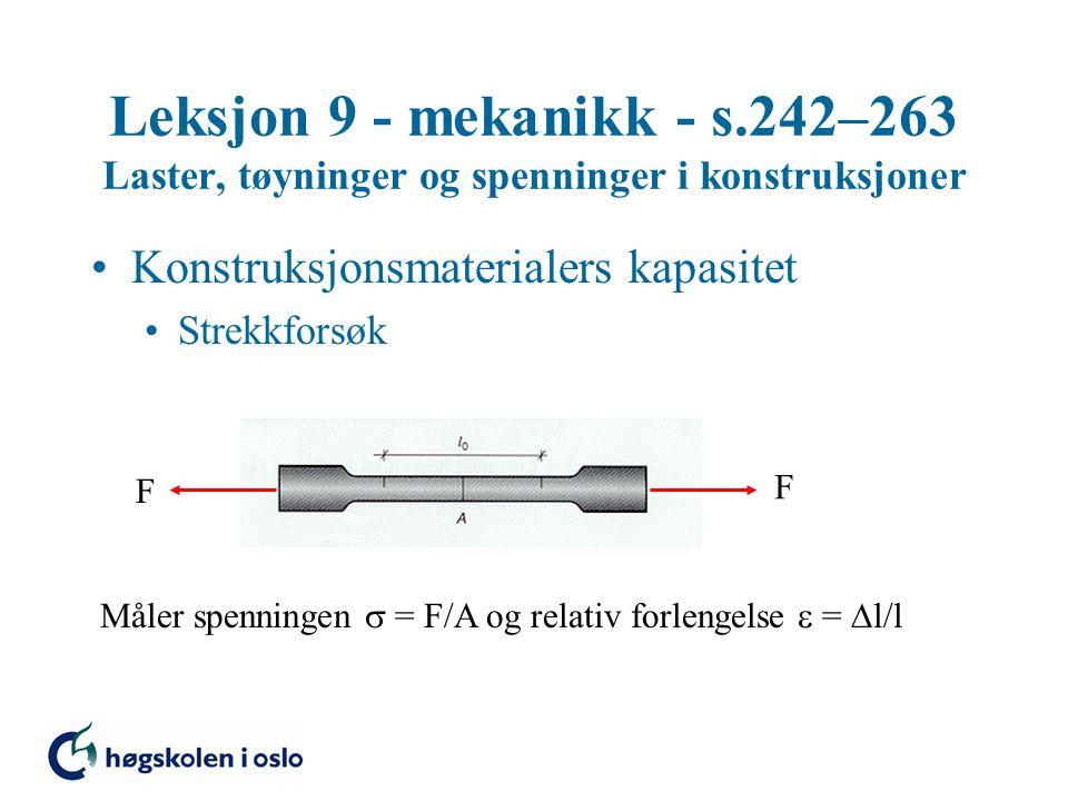 Leksjon 9 - mekanikk - s.242–263 Laster, tøyninger og spenninger i konstruksjoner Konstruksjonsmaterialers kapasitet Strekkforsøk F F Måler spenningen