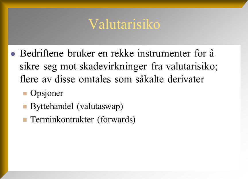 Valutarisiko Bedriftene bruker en rekke instrumenter for å sikre seg mot skadevirkninger fra valutarisiko; flere av disse omtales som såkalte derivater Opsjoner Byttehandel (valutaswap) Terminkontrakter (forwards)